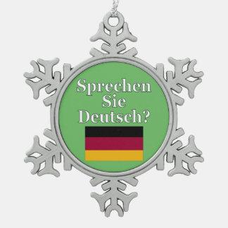 Sprechen Sie Deutsches? auf Deutsch. Flagge Schneeflocken Zinn-Ornament