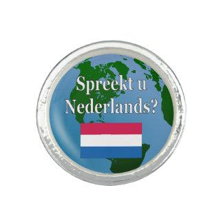 Sprechen Sie Niederländisch? auf Holländer. Flagge Foto Ring