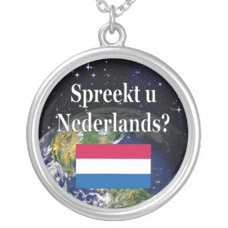 Sprechen Sie Niederländisch? auf Holländer. Flagge Halskette Mit Rundem Anhänger