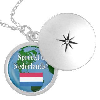 Sprechen Sie Niederländisch? auf Holländer. Flagge Runde Medaillon Halskette