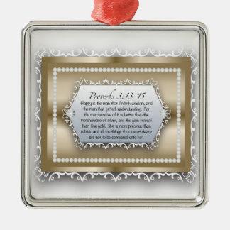 Sprichwort-3:13 Klugheits-Goldchristliches Quadratisches Silberfarbenes Ornament