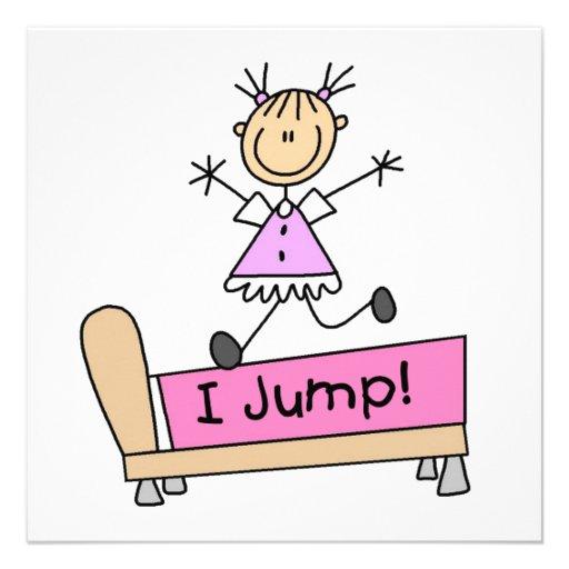 Springen auf das Bett-Strichmännchen-Mädchen Individuelle Ankündigungskarte