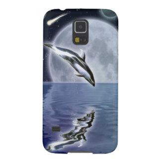 Springen Delphin-u. Mond-des Galaxy S5 Hülle