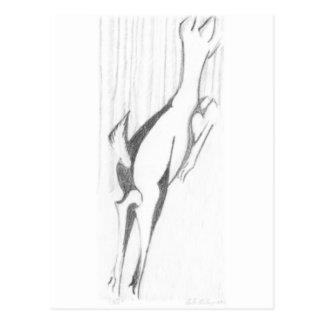 Springen der Damhirschkuh Postkarte