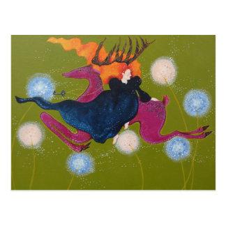 Springen der Rotwild Postkarte