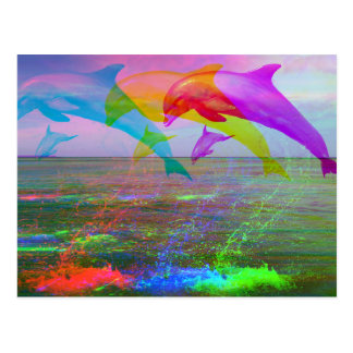 Springen des Delphinregenbogens Postkarte