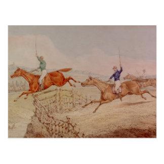 Springen eines Zauns Postkarte