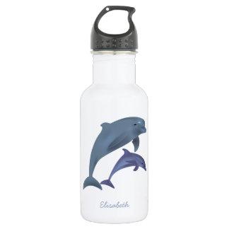 Springender Delphinillustrationsname Edelstahlflasche