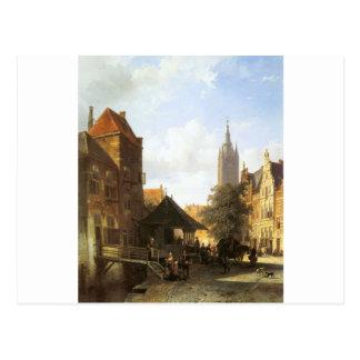 Springer-Cornelis-Zahlen in einer Straße in Delft Postkarte