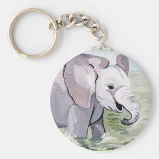 Spritzen über Baby-Elefanten (K.Turnbull Kunst) Schlüsselanhänger