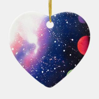 Sprühfarbe-Kunst-Raum-Galaxie-Malerei Keramik Herz-Ornament