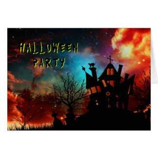 Spuk Haus-Halloween-Party Mitteilungskarte
