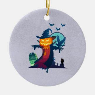 Spuk Vogelscheuche Halloweens mit Schlägern und Keramik Ornament