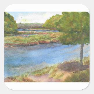squamscott Fluss an den newfields am 31. Juli 2015 Quadratischer Aufkleber