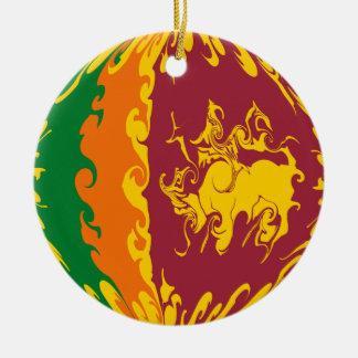 Sri Lanka Gnarly Flagge Rundes Keramik Ornament