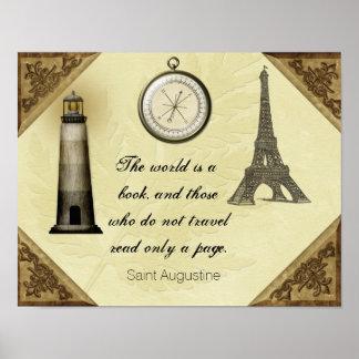 St- Augustinereise-Zitat -- Kunst-Druck Poster