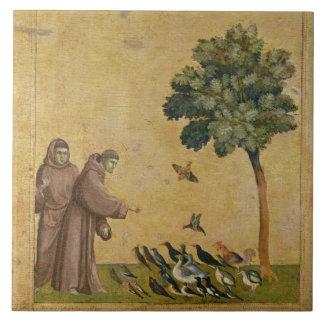 St Francis von Assisi predigend zu den Vögeln Große Quadratische Fliese