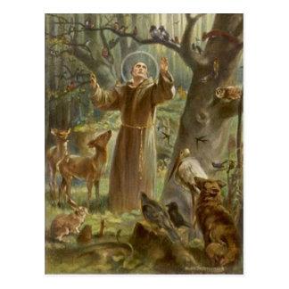 St Francis von Assisi umgab durch Tiere Postkarte