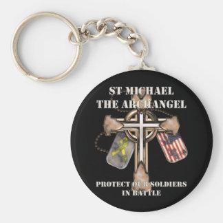 St Michael der Erzengel - schützen Sie unsere Sold Standard Runder Schlüsselanhänger