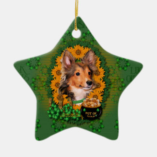 St. Patricks - Goldschatz - Sheltie - Fassbinder Keramik Stern-Ornament