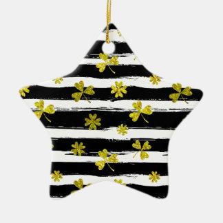 St. patricks Schwarz-weißer Klee Keramik Stern-Ornament