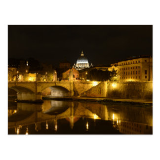 St- Petersbasilika in der Vatikanstadt nachts Postkarte