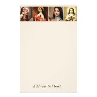 St. Therese das kleine Blumen-Rosen-Kruzifix Briefpapier