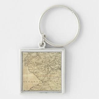Staat von New-Jersey Silberfarbener Quadratischer Schlüsselanhänger