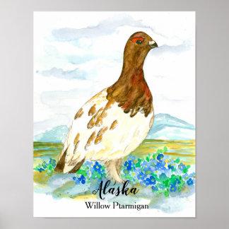 Staats-Vogel des Alaska-Weide-Alpenschneehuhns Poster