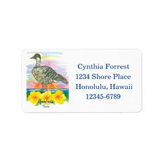 Staats-Vogel-Hibiskus-Rücksendeadresse Hawaiis Adressaufkleber