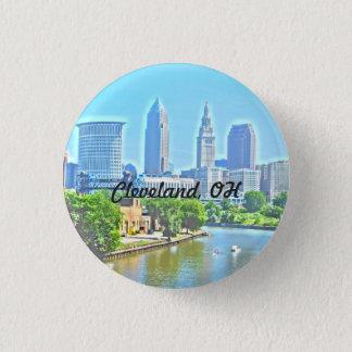 Stadt-Fluss-Ansicht-Knopf Clevelands OH- Runder Button 3,2 Cm