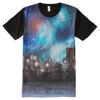 Stadt im Raum T-Shirt Mit Komplett Bedruckbarer Vorderseite
