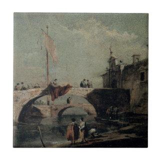 Stadt mit einer Brücke durch Francesco Guardi Keramikfliese