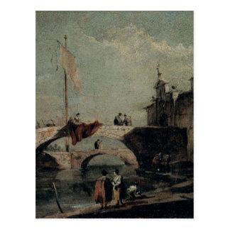 Stadt mit einer Brücke durch Francesco Guardi Postkarte
