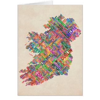 Stadt-Textabbildung Irlands Eire Grußkarte