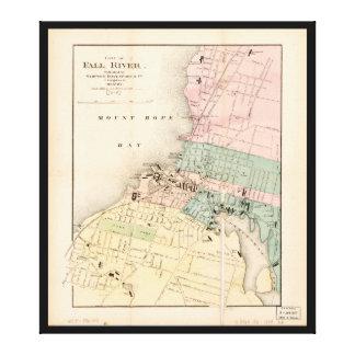 Stadt von Fall-River, Massachusetts Karte (1874) Leinwanddruck