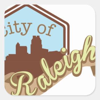 Stadt von Raleigh Quadratischer Aufkleber