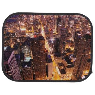 Stadtbild nachts von Chicago Autofußmatte