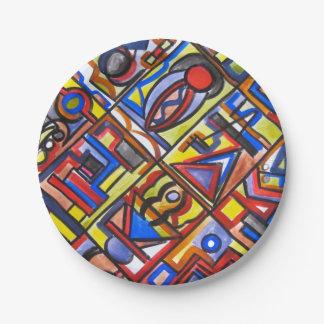 Städtische Straßen-Zwei-Hand gemaltes abstraktes Pappteller