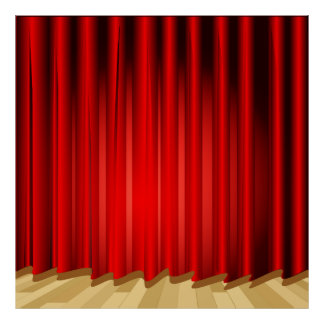 Stage Curtain School/Portrait Photo Booth Backdrop Poster