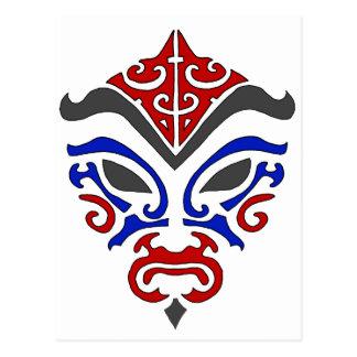 Stammes- Art rote Kabuki Maske Postkarte