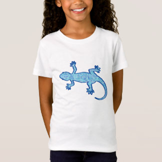 Stammes- Batik Gecko - weiches Denimblau T-Shirt