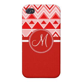 Stammes- Gebirgsdreieck Monogramm-rotes Hülle Fürs iPhone 4