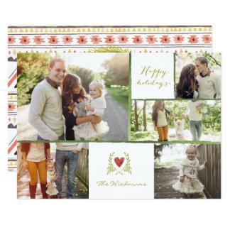 Stammes- Kranz-Collagen-Weihnachtskarten 12,7 X 17,8 Cm Einladungskarte