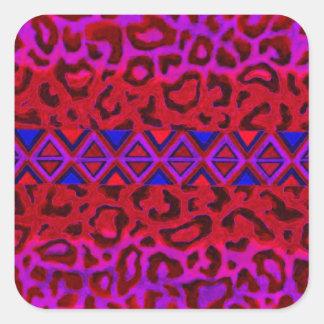 STAMMES- LEOPARD 3 rosa gebürtige Quadrataufkleber