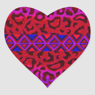 STAMMES- LEOPARD 3 rosa gebürtige Herzaufkleber