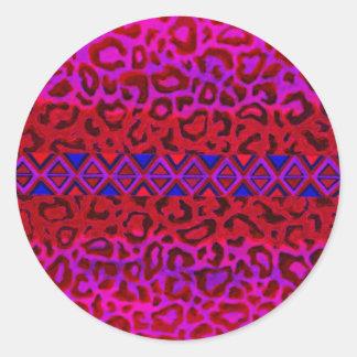 STAMMES- LEOPARD 3 rosa gebürtige Runde Sticker