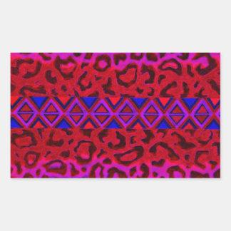 STAMMES- LEOPARD 3 rosa gebürtige Rechtecksticker
