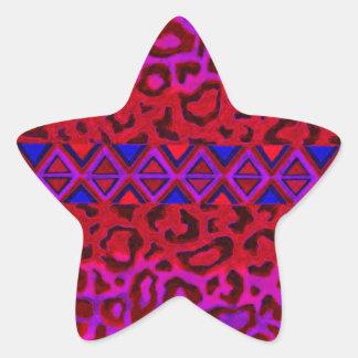 STAMMES- LEOPARD 3 rosa gebürtige Sternaufkleber