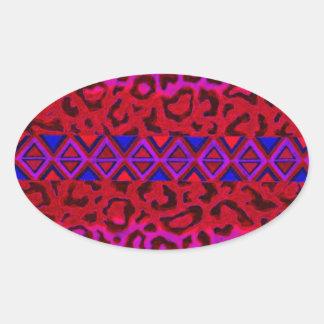 STAMMES- LEOPARD 3 rosa gebürtige Ovaler Aufkleber